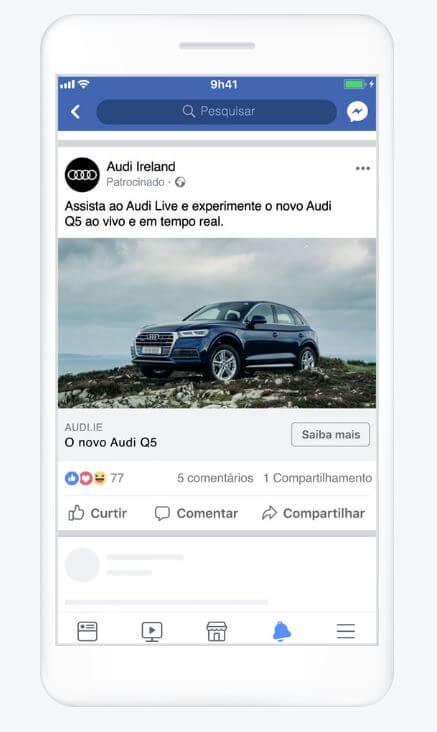 Exemplo de anúncio de Facebook Ads.